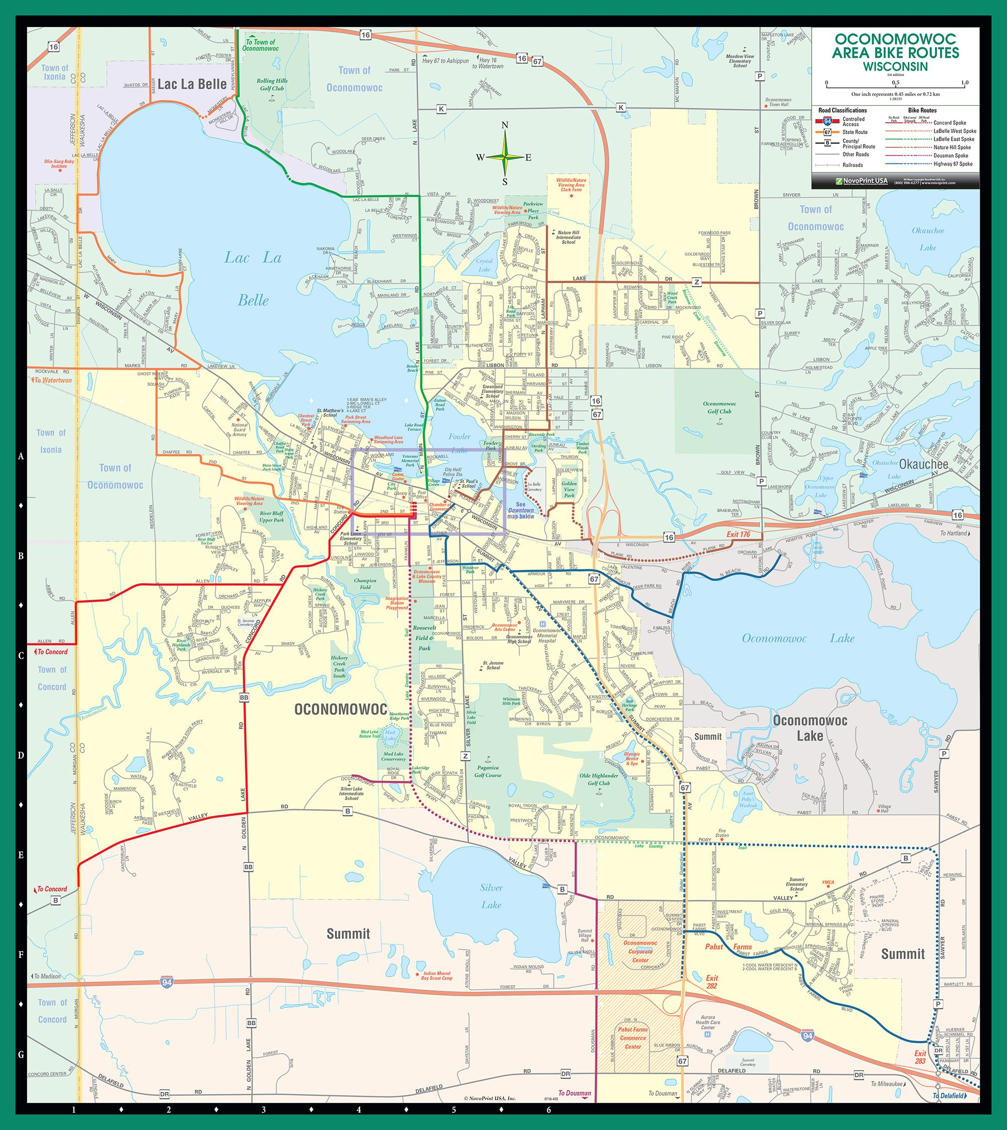 Oconomowoc WI BIKE MAP All Spokes