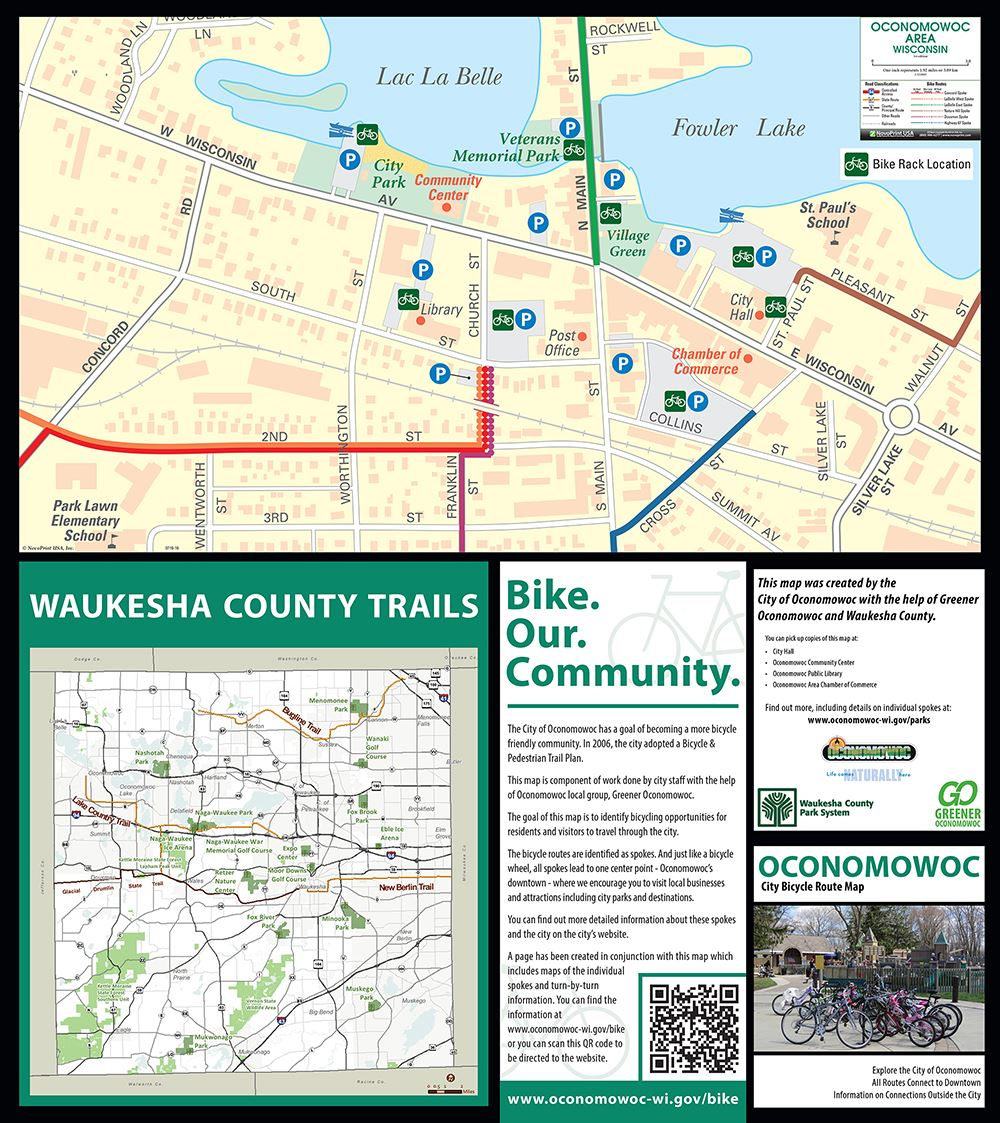 Oconomowoc WI BIKE MAP Downtown